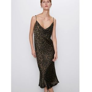 ZARA Leopard Print Slip Dress